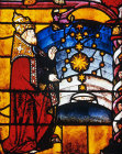 Creation of sun, moon and stars, panel from Creation window, sixteenth century, Church of La Madeleine, Troyes, France