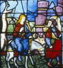 Joseph and Mary on their journey to Bethlehem, Notre Dame, Chalons-en-Champagne, formerly Chalons-sur-Marne, France, 16th century stained glass