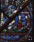 Joseph window, money changers donors, 13th century stained glass, Chartres Cathedral, France