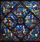 Joseph window, 1210, details of scenes I to 8 from his life, Chartres Cathedral, France