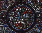 Wine cart, detail from St Lubin window, 13th century stained glass, Chartres Cathedral, France