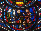 Butchers, (donors), Miracles of Mary window, circa 1210, Chartres Cathedral, France