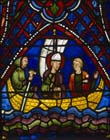 St Apollinaris going into exile, 13th century stained glass, south transept, Chartres Cathedral, France