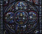 Miracles of Mary window, lower quatrefoil, 13th century stained glass, Chartres cathedral, France
