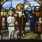 Baptism of Christ, 19th century stained glass, Church of St Aignan, Chartres, France