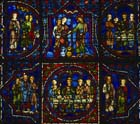 Six scenes from the marriage at Cana, 13th century stained glass, south ambulatory, Chartres Cathedral, France