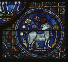 Aries, Zodiac window, 13th century stained glass, south ambulatory, Chartres Cathedral, France