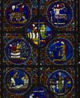 Zodiac window,  13th century stained glass, south ambulatory, Chartres Cathedral, France