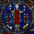 April, Zodiac window, 13th century stained glass, south ambulatory, Chartres Cathedral, France