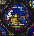 July, although named Junius, Zodiac Window, 13th century stained glass, south ambulatory, Chartres Cathedral, France