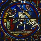 Zodiac window, Count Thibault VI of Chartres, 13th century stained glass, south ambulatory, Chartres Cathedral, France