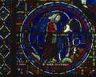 March, Zodiac window, 13th century stained glass, south ambulatory, Chartres Cathedral, France