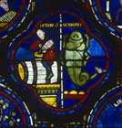 October, Zodiac window, Scorpio, 13th century stained glass, south ambulatory, Chartres Cathedral, France