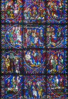 Story of the Apostles, window number 34, panels 16-27, thirteenth century, east ambulatory, Chartres Cathedral, Chartres, France