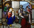 Adoration of the Magi, 19th century stained glass, Church of St Aignan, Chartres, France