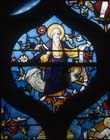 St Matthew, 19th century stained glass, Church of St Aignan, Chartres, France