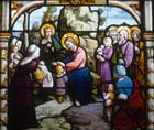 Jesus blessing little children, 19th century stained glass, Church of St Aignan, Chartres, France