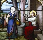 Jesus and the woman of Samaria, 19th century stained glass, Church of St Aignan, Chartres, France