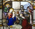 The Adoration of the Magi from the Church of St Aignan in Chartres, France, 19th century stained glass