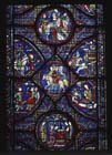 Scenes from the Charlemagne window, 13th century stained glass, Chartres Cathedral, France