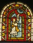 Moses receives the tablets, by Master Gerlachus,  stained glass 1150-60, Munster Landesmuseum, Germany