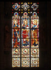 Germany, Soest, Church of St Maria Wiesenkirche, Christ and two angels, apse, centre window 15th century