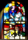 Window in crypt, 1960 stained glass by Manessier, Essen Munster, Germany