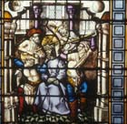 Mocking of Christ, 15th century stained glass, Sacraments Chapel, Cologne Cathedral, Germany