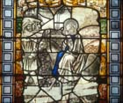 Flight into Egypt, 15th century stained glass, Sacraments Chapel, Cologne Cathedral, Germany