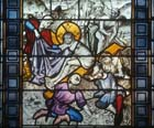 Parting of the Raiment, 15th century stained glass, Sacraments Chapel, Cologne Cathedral, Germany