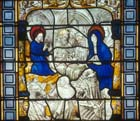 Christ-child teaching in the Temple, 15th century stained glass, Sacraments Chapel, Cologne Cathedral, Germany