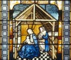 Nativity, 15th century stained glass, Sacraments Chapel, Cologne Cathedral, Germany