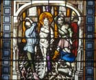 Flagellation, 15th stained glass, Passion window Sacraments Chapel, Cologne Cathedral, Germany
