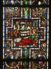 Nativity, 13th century stained glass, Bible window, Three Kings Chapel, Cologne Cathedral, Germany
