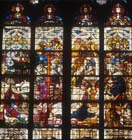 Nativity with angels and shepherds, 16th century stained glass, Cologne Cathedral, Germany