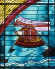 Noahs Ark, 20th century stained glass by Georg Meistermann, Marienkirche, Kalk, Cologne, Germany