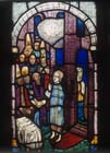 Christ-child teaching in the Temple, 15th century stained glass by Hans Acker, Besserer Chapel, Ulm Cathedral, Germany