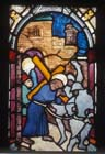 Christ carrying the cross, 15th century stained glass by Hans Acker, Besserer Chapel, Ulm Cathedral, Germany