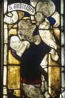 St Ambrosius wearing glasses, Konhofer window, 15th century stained glass, Lorenzkirche, Nuremberg, Germany