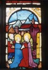 Visitation, 15th century stained glass by Hans Acker, Besserer Chapel, Ulm Cathedral, Germany