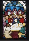 Last supper, 15th century stained glass by Hans Acker, Besserer Chapel, Ulm Cathedral, Germany