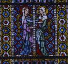 Visitation, 14th century stained glass panel, north aisle, Freiburg Munster, Germany