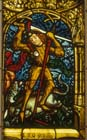 St George and the Dragon,15th century stained glass, Neckarsteinach, Darmstadt Museum, Germany