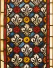 Decorative flower and foliage, 13th century stained glass panel from Erfurt Cathedral now in Darmstadt Museum, Germany