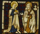 St James and St John, 15th century stained glass panel from the Rhineland now in Darmstadt Museum, Germany