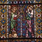 Annunciation to Mary, Blacksmiths window, 14th century stained glass, Freiburg Munster, Germany