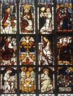Heavenly Host and Evangelist Symbols, Schlusselfelder window, stained glass 1481, Lorenzkirche, Nuremberg, Germany