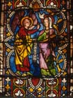 Annunciation to Mary, 14th century stained glass, Regensburg Cathedral, Germany