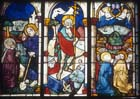 Resurrection, Ascension, Christ with Mary Magdalene, 15th century stained glass by Hans Acker, Freiburg Munster, Germany