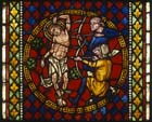 Martyrdom of St Sebastian, 20th century stained glass by Fritz Geiges, Freiburg Munster, Germany